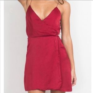 Red silky wrap mini dress small 4